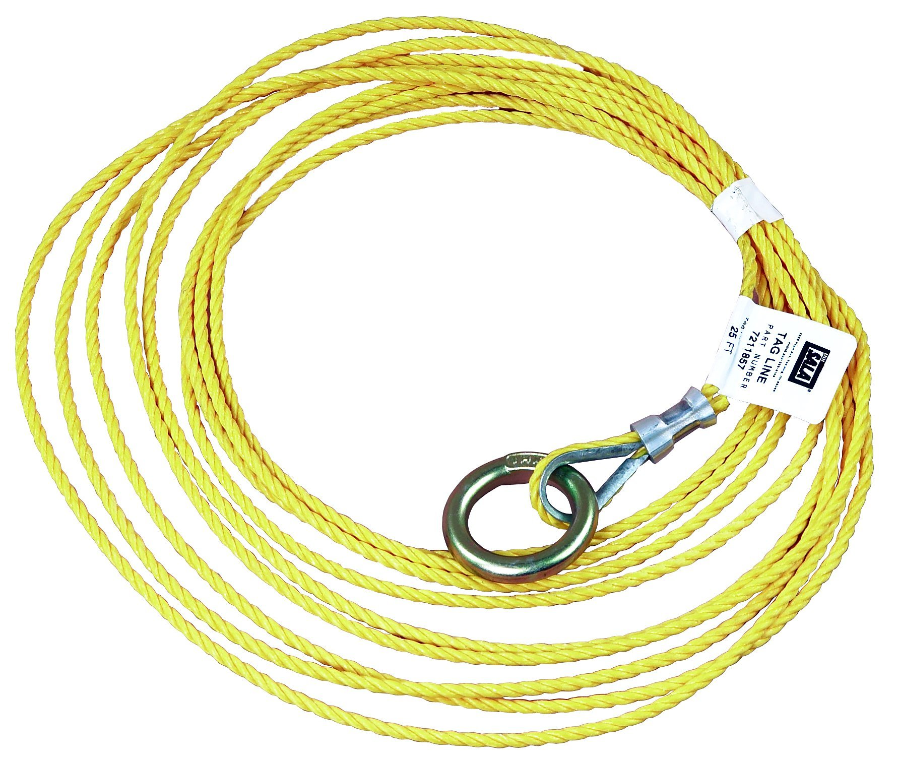 3M DBI-SALA 7211857 Tagline, For Self Retracting Lifeline, 25', 3/16'' Polypropylene Rope, with O-Ring At One End, Yellow