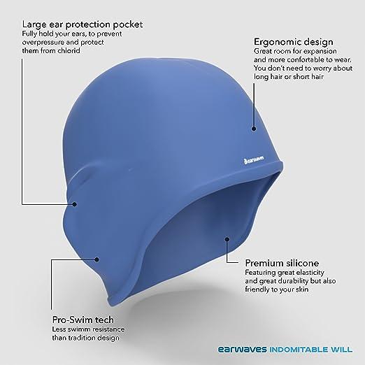 Earwaves H2O - Cuffia nuoto Earwaves in silicone premium con protezione per  le orecchie. Unisex. Ideale per capelli lunghi. 5f7a4d2422b1