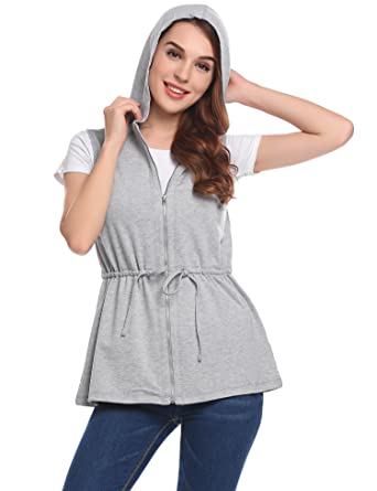 1debd75486da7 Zeagoo Womens Lightweight Sleeveless Military Anorak Vest Casual Zipper  Hoodie Grey S