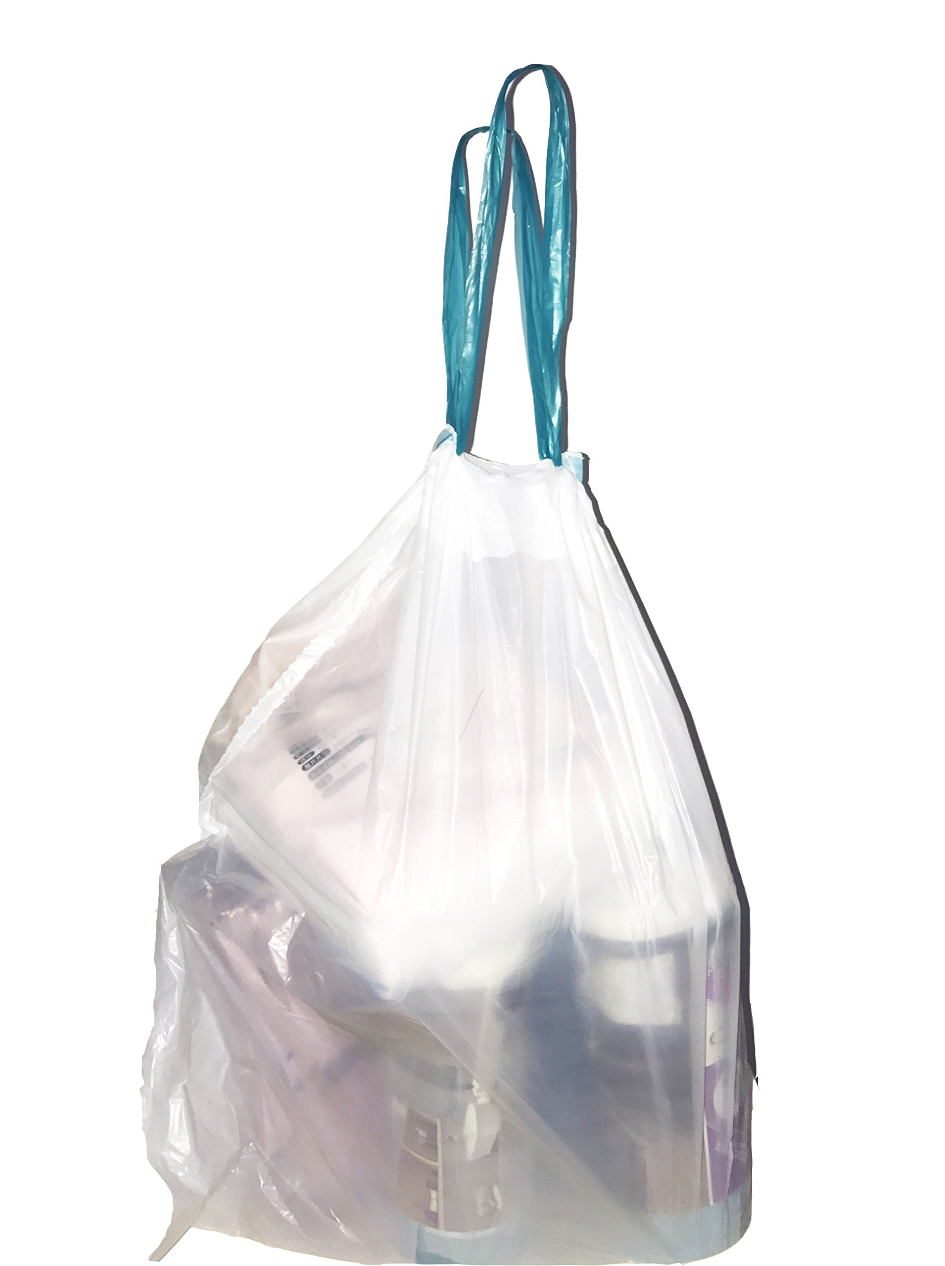 W&S 2.3 Gallon Kitchen Drawstring Strong Trash Bags, Heavy Duty, Clear, 120 Counts/ 2 Rolls by W&S (Image #4)