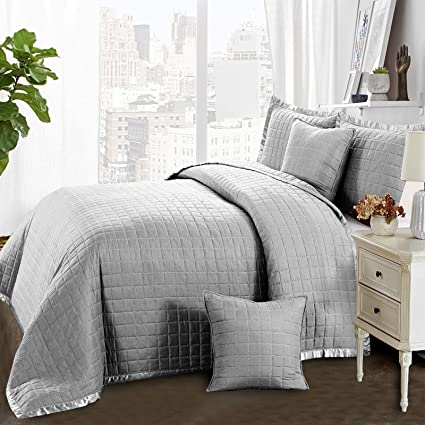 3PC Luxurious Quilted Bedspread Comforter Cushions Set Black White Silver Teal