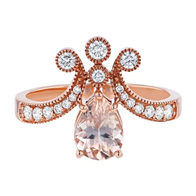 15ff426a25c6 14K Rose Gold Pear Shape Morganite and Diamond Engagement Ring (1 3 cttw