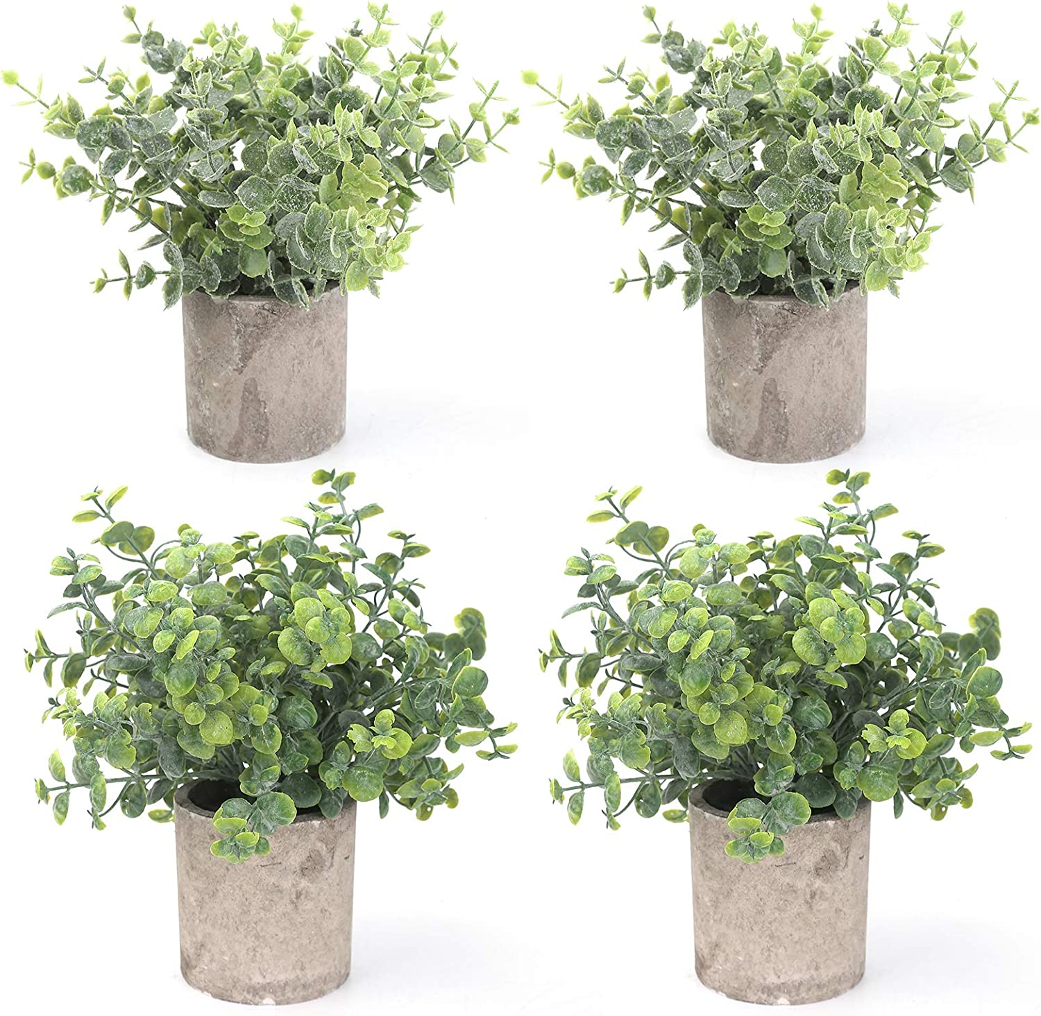 BOMAROLAN 4 Pcs Mini Potted Plastic Artificial Green Plants, Fake Topiary Shrubs Fake Plant, Small Faux Greenery, for Bathroom Home Office Desk Decorations (Eucalyptus Leaves)