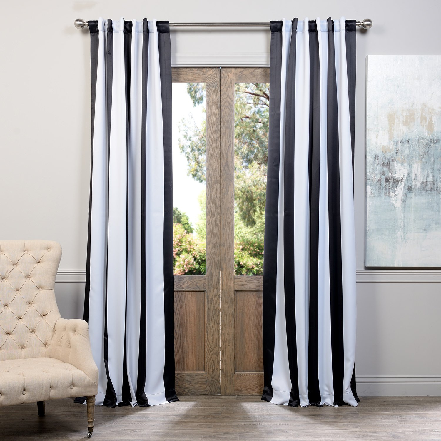 Black and white curtains - Amazon Com Half Price Drapes Boch Kc43 84 Blackout Curtain Awning Black White Stripe Home Kitchen