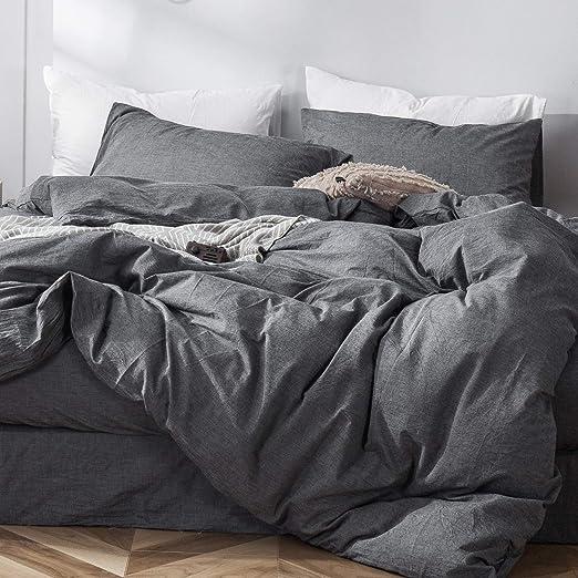 Lt.Grey 2 Pillow Shams Linen Cotton Duvet Cover Set 3 Pieces Queen King White