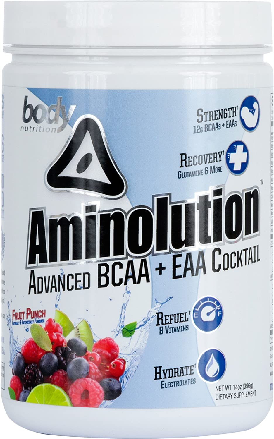 Body Nutrition Aminolution Fruit Punch Advanced BCAA EAA Cocktail 14 Oz