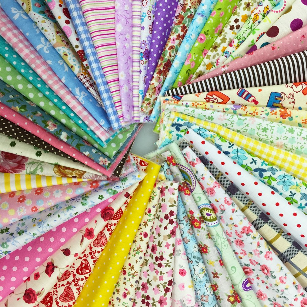 flic-flac 200pcs 4 x 4 inches (10cmx10cm) Cotton Craft Fabric Bundle Squares Patchwork Lint DIY Sewing Scrapbooking Quilting Dot Pattern Artcraft by flic-flac (Image #2)