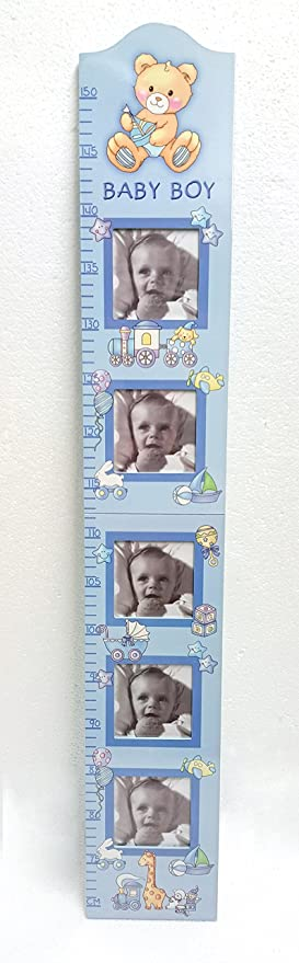 Baby Boy Wall Growth Height Chart Ruler With Photo Frames For 5