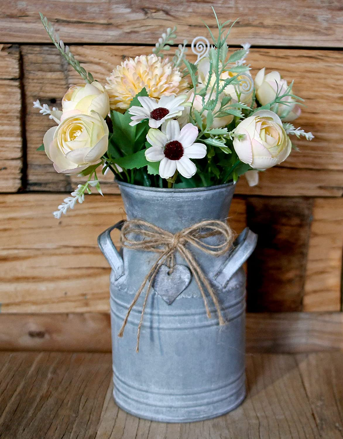Vintage Galvanized Milk Can, Farmhouse Decorative Flower Vase, Rustic French Country Metal Jug for Home Decor,7.2'' H