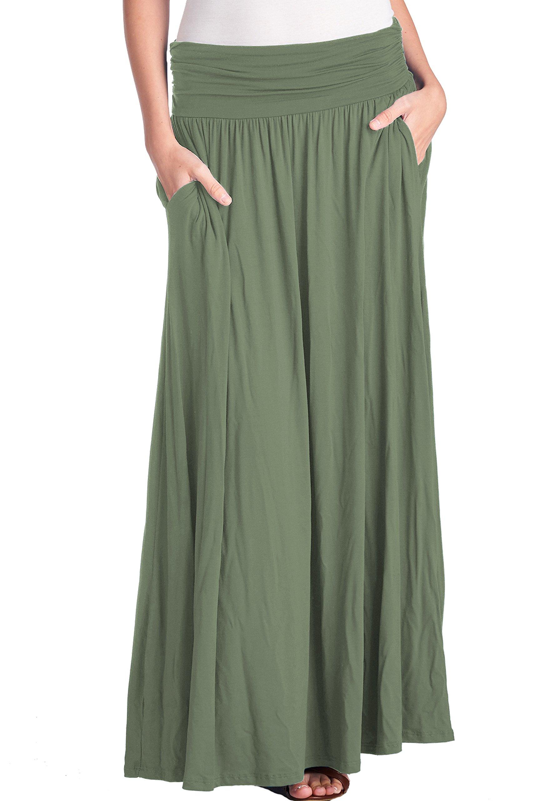 f2b39bfbbc1b42 Galleon - TRENDY UNITED Women's High Waist Fold Over Shirring Maxi Skirt  With Pockets,Dusty Green-Maxi,XX-Large