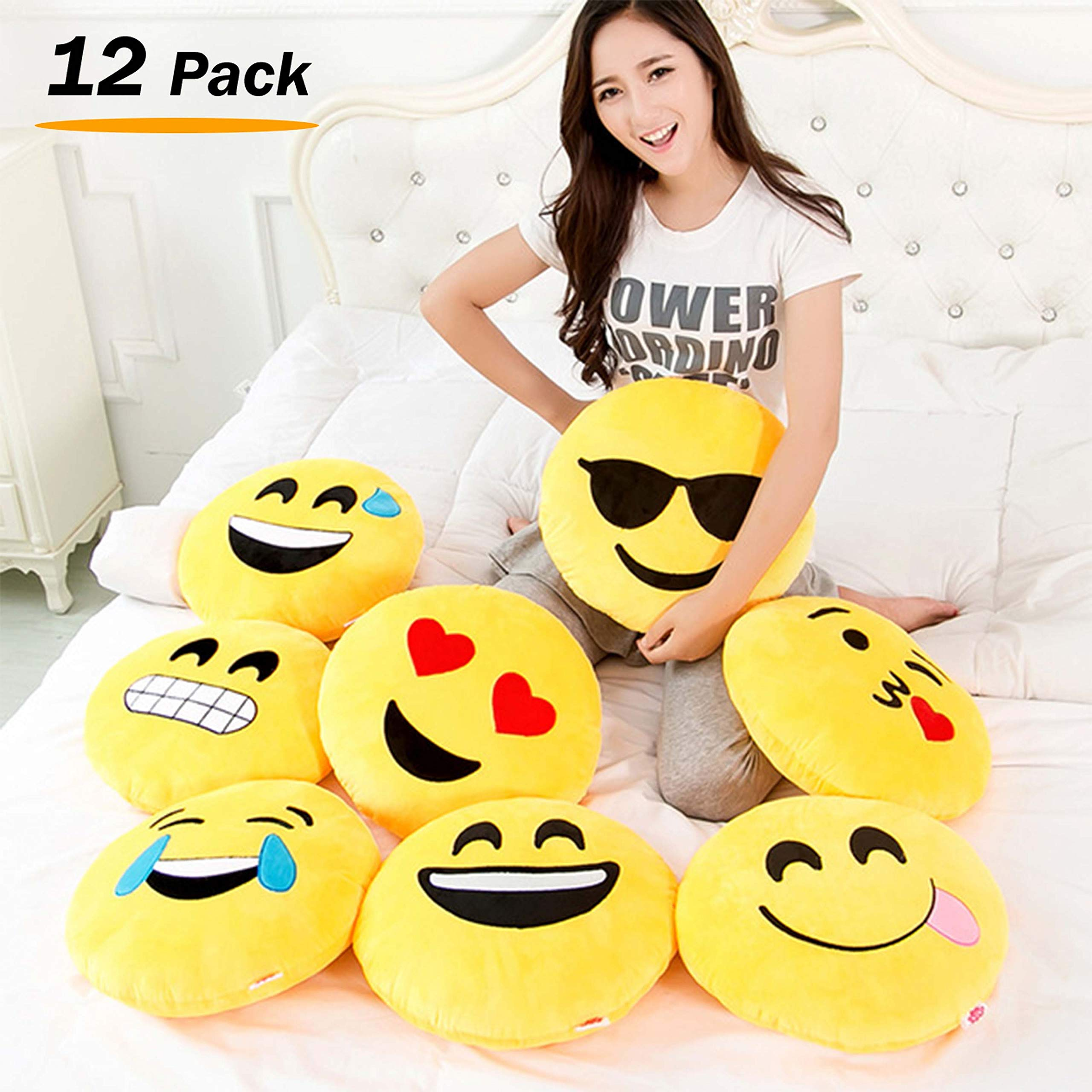 Liberty Imports [12 Pack] Large Emoji Plush Pillows, 13 Inches / 32CM Jumbo Stuffed Cushion Pillows Bulk Bundle Set (1 Dozen)