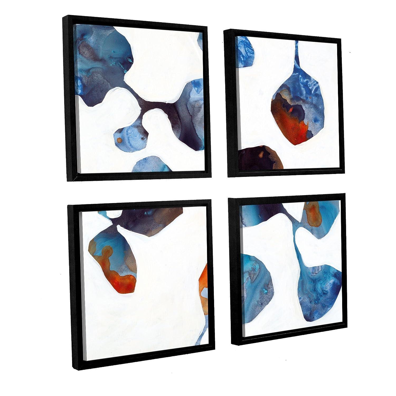 Square36 by 36 ArtWall Jan Weiss Moonflower II 4-Piece Floater Framed Canvas Artwork