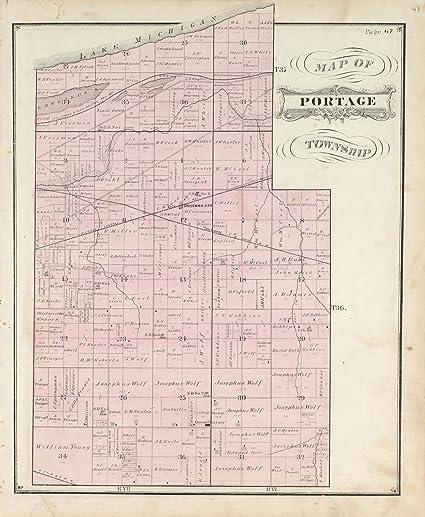 Porter Indiana Map.Amazon Com Historic 1876 Map Illustrated Historical Atlas Of