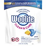 Woolite Clean & Care Pacs, Laundry Detergent Pacs, 30 Count, for Standard and HE Washers, travel laundry packets