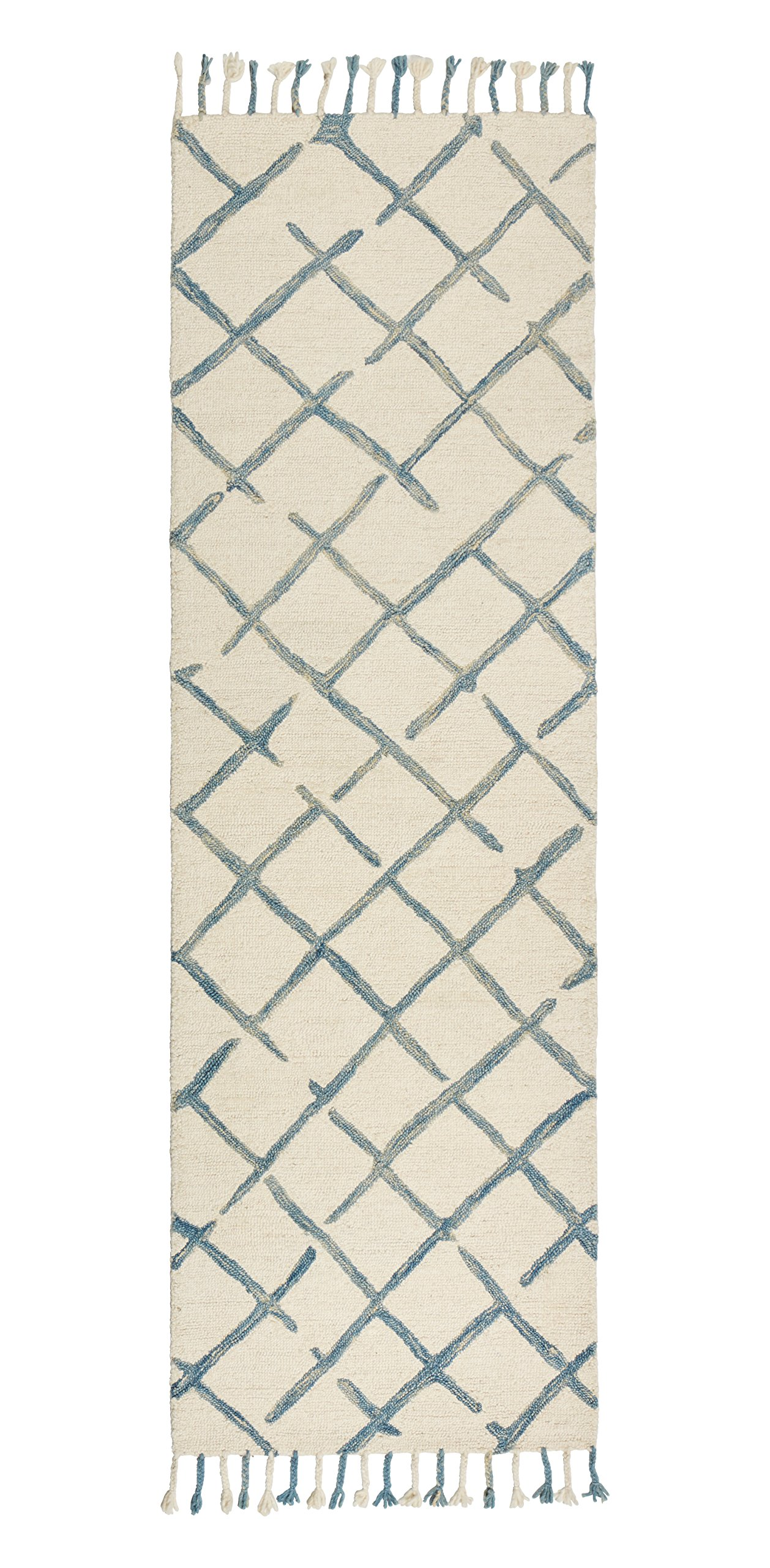 Stone & Beam Transitional Criss-Cross Wool Runner, 2'6 x 8', Blue and White