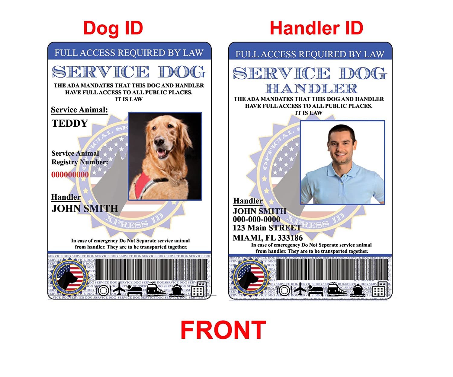 Amazon.com : XpressID Holographic Service Dog ID and Handler ID ...