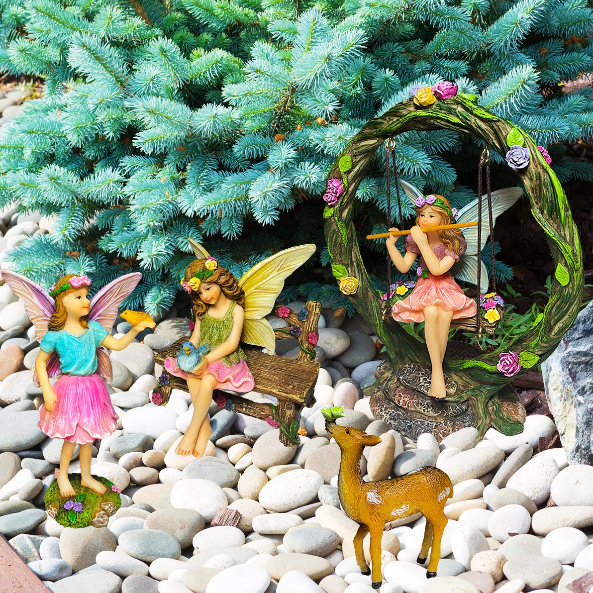 Mood Lab Fairy Garden Kit - Miniature Figurines with Accessories Swing Set of 6 pcs - Hand Painted for Outdoor or House Decor by Mood Lab (Image #7)
