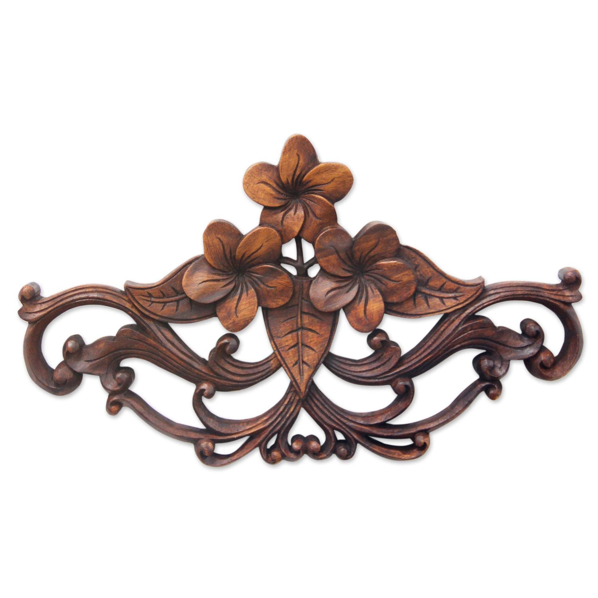 NOVICA Floral Suar Wood Wall Sculpture, Brown, Frangipani Garland'
