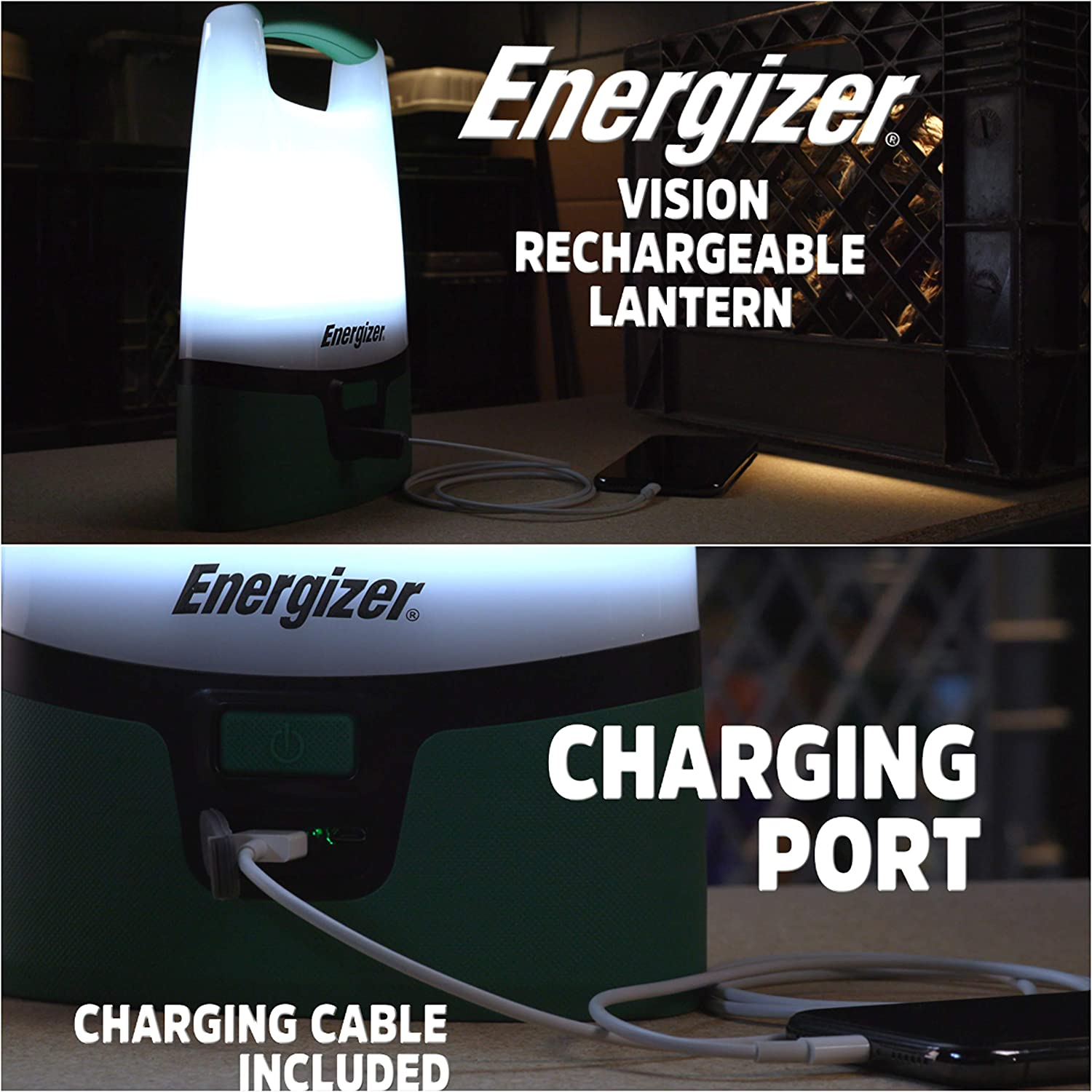"""Energizer ENALUR7 Rechargeable Area Light Flashlight, 12"""" x 2.9"""" x 6.9"""", Green: Home Improvement"""