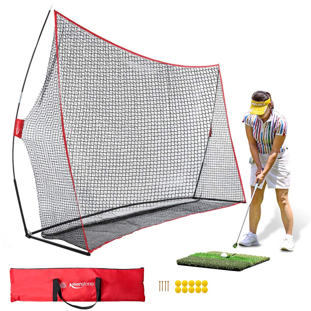 Keenstone 10x7ft Portable Golf Net Golf Practice Net for Indoor and Outdoor Hitting Driving and Chipping Practice with Tri Turf Hitting Mat, 4 Wooden Tees, 10 Foam Practice Balls, and Carry Bag by Keenstone