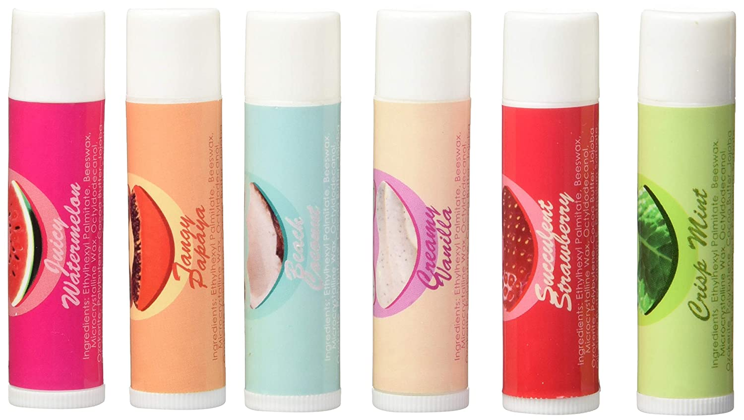 Lip Balm Variety Gift Set - 6 Assorted Flavors Mint Papaya Vanilla Strawberry Watermelon Coconut, Natural Best Lip Plumper Moisturizer Chapstick for Dry Chapped Lips with Vitamin E Coconut Oil Beeswax Premium Nature