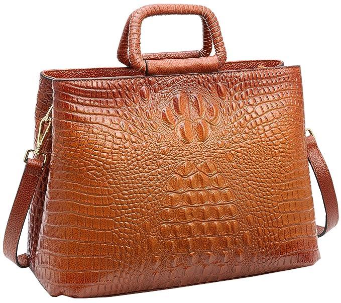 Tote Heshe Womens Crocodile Leather Shoulder Handbags Bags Satchel Purse  (Sorrel) 4792f6c127c25