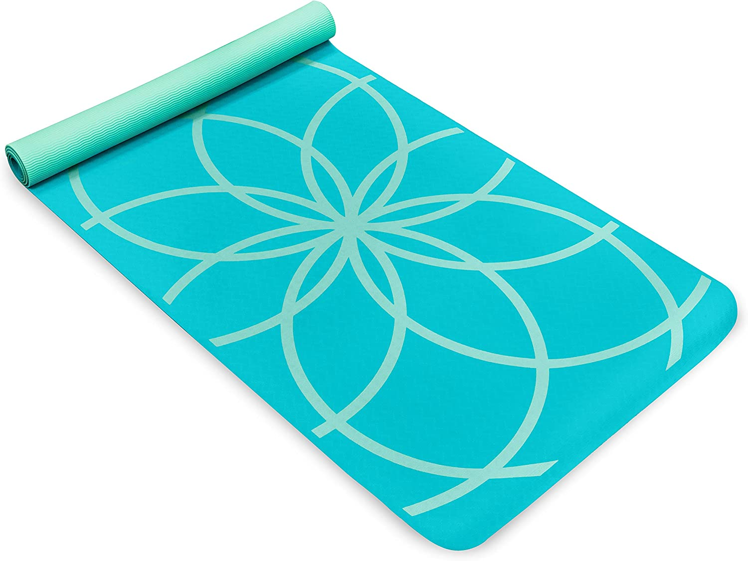Life Energy EkoSmart Non-Slip Exercise Yoga Mat with Carrying Strap, 4 mm Thick