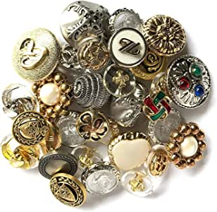 "70 Metal 5//8/"" Buttons 2 hole or 4 hole Gold Silver for bracelets clothing plays"