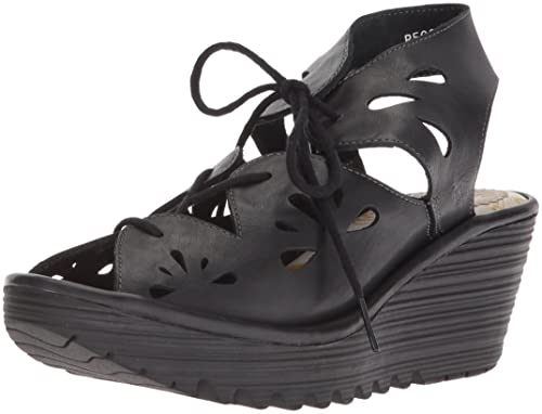 59651f7f98a9 Fly London Womens Yote Leather Open Toe Wedge Heel Cut Out Summer Sandals -  Colmar Black