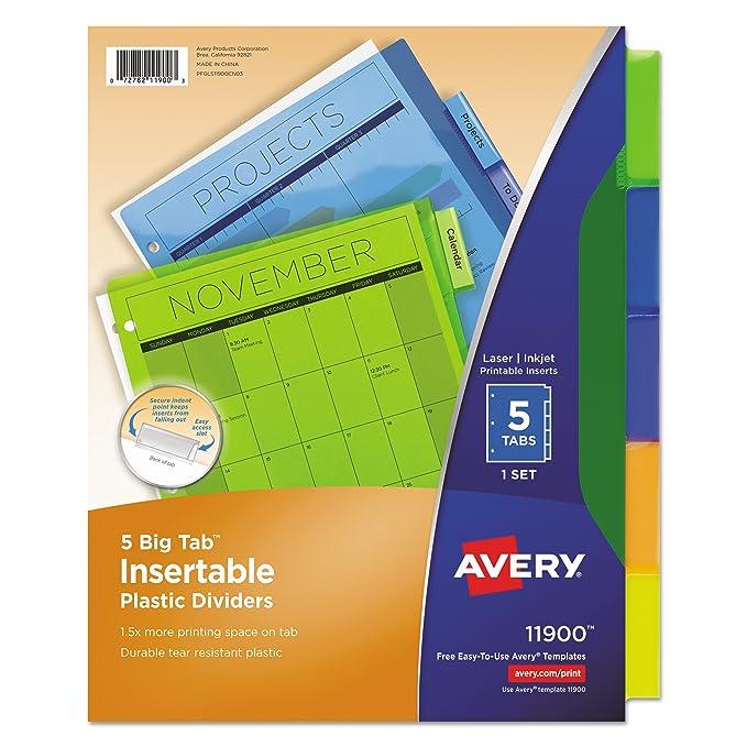 Amazon Avery 11900 Insertable Big Tab Plastic Dividers 5 Tab