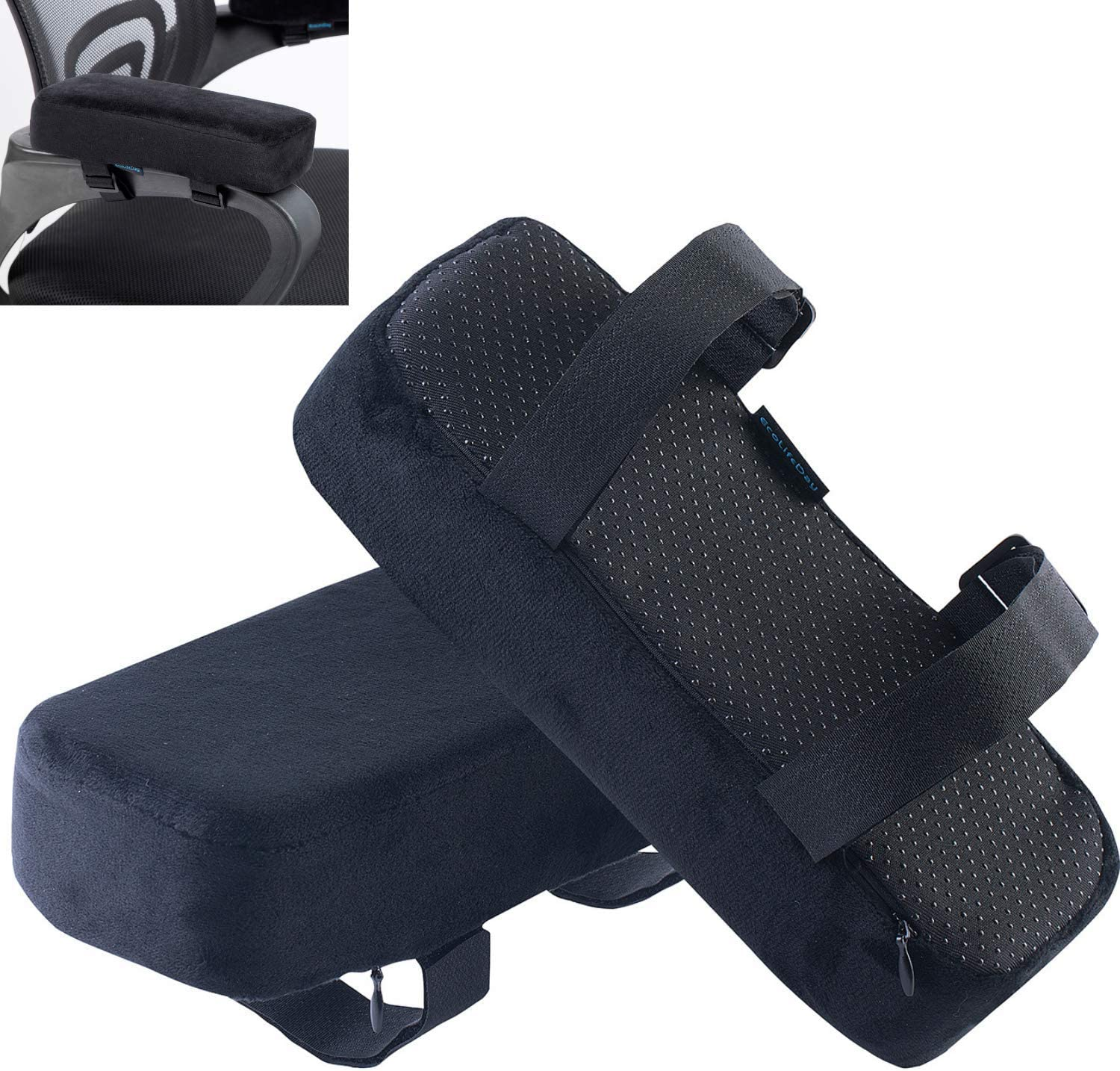 EcoLifeDay Extra Thick Chair armrest Cushions Elbow Pillow Pressure Relief Office Chair Gaming Chair armrest with Memory Foam armrest Pads 2-Piece Set of Chair : Office Products