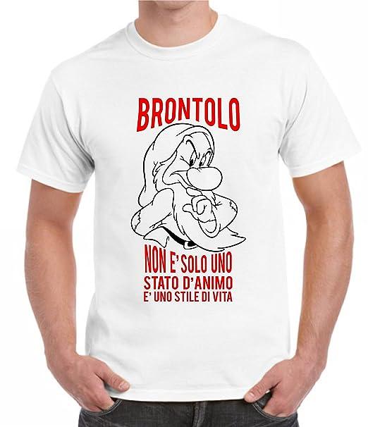 9a0ca84d3b Bemode T-Shirt Uomo Maniche Corte Brontolo E' Uno Stile di Vita Frasi  Divertenti