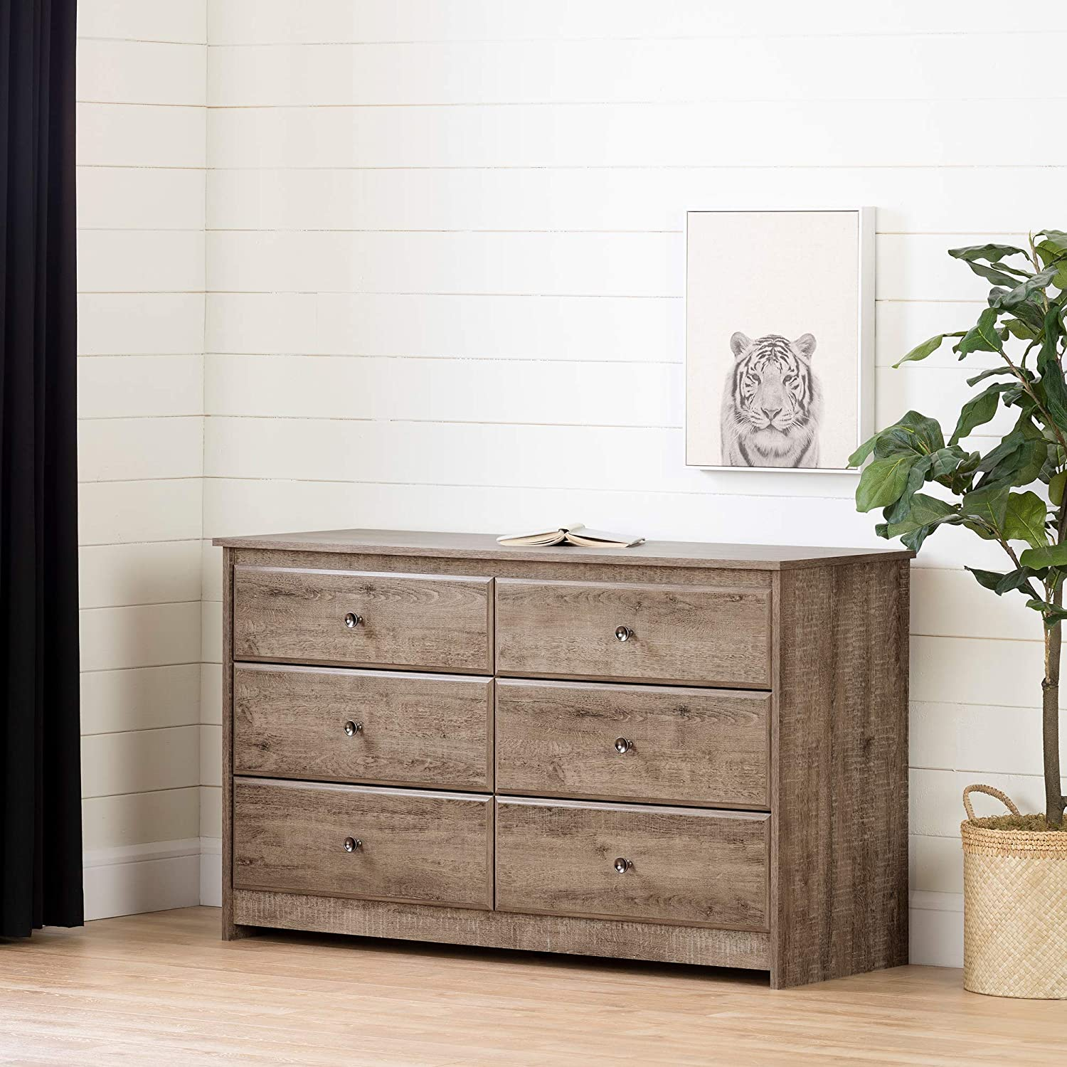 South Shore Furniture Tassio 6-Drawer Double Dresser-Weathered Oak