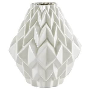 Rivet Modern Geometric Stoneware Home Decor Flower Vase - 6.9 Inch, White