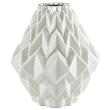 Rivet Modern Geometric Stoneware Home Decor Flower Vase - 6.9 Inch, White