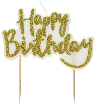 Ginger Ray PM 941 Pick And Mix Sparkling Designer Happy Birthday Candle Topper Gold