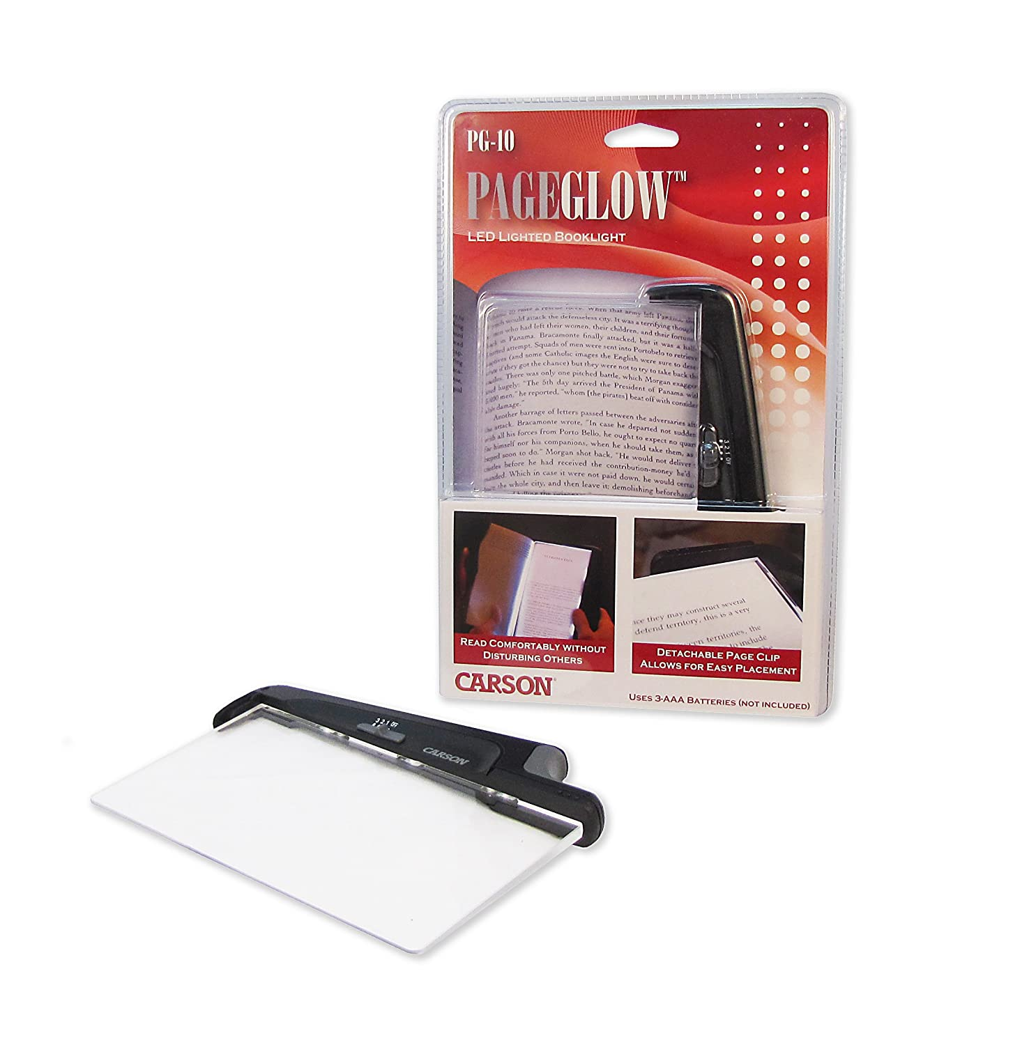 Carson PageGlow Battery Powered LED Paperback Book Light with Detachable Page Clip