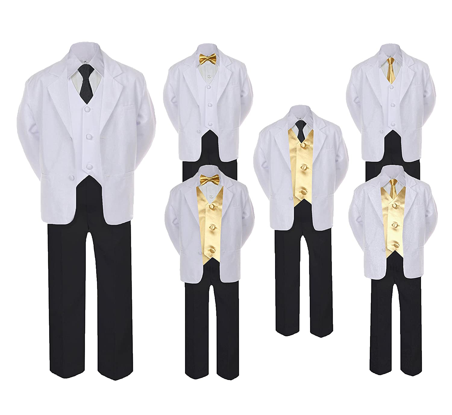 Unotux 5-7pc Formal Black White Suit Set Mustard Bow Long Tie Vest Boy Baby Sm-20 Teen