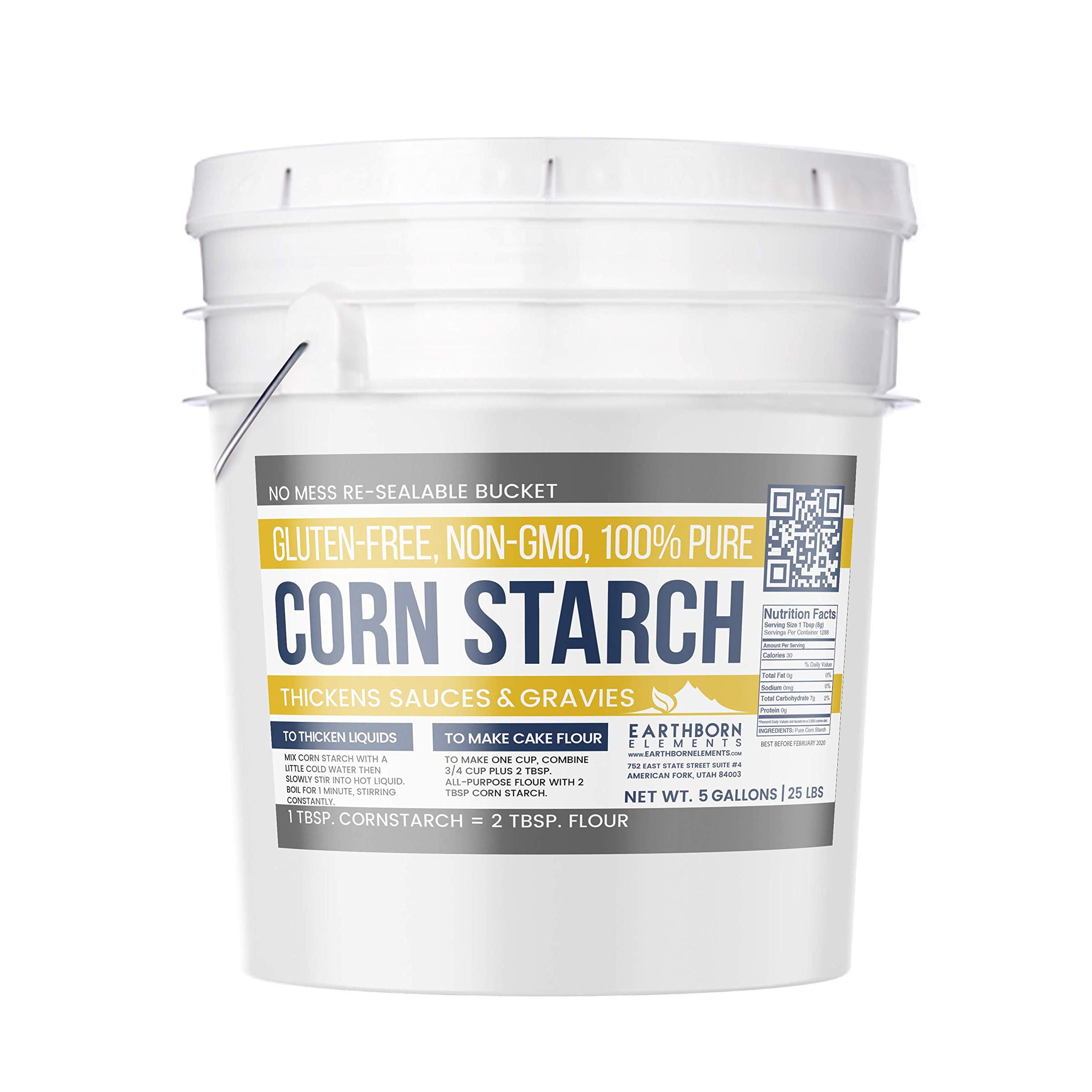 Corn Starch (5 Gallon (25 lb.)) by Earthborn Elements, Resealable Bucket, Thickener For Sauces, Soup, & Gravy, Highest Quality, All-Natural, Kosher, Food Grade & USP Grade, Vegan, Gluten-Free by Earthborn Elements (Image #1)