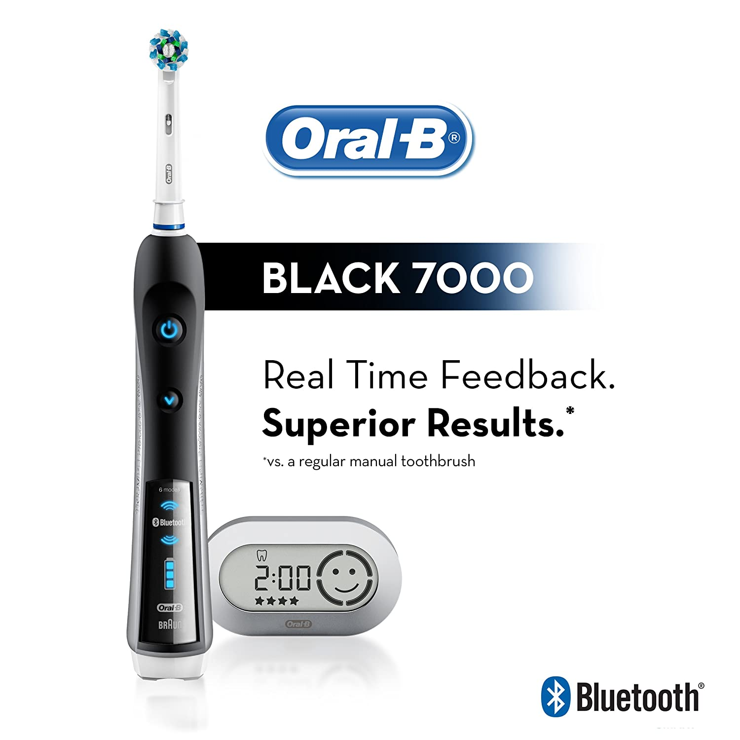 Oral-B Pro 7000 SmartSeries Black Electronic Power Rechargeable Battery Electric Toothbrush with Bluetooth Connectivity
