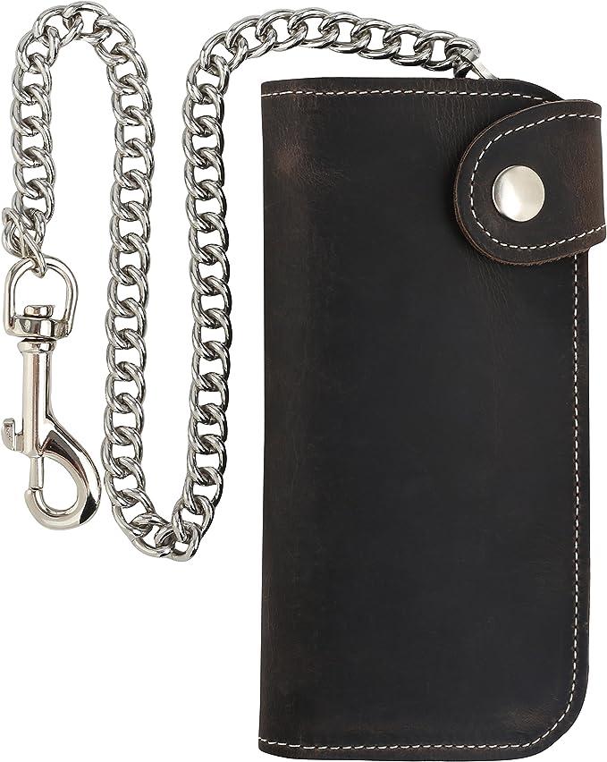 Amazon.com: Billetera de piel de vaca con cadena de acero y ...