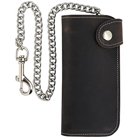 Men/'s Brown Bifold Vintage Long Style Hand Made Leather Chain Wallet BLACK
