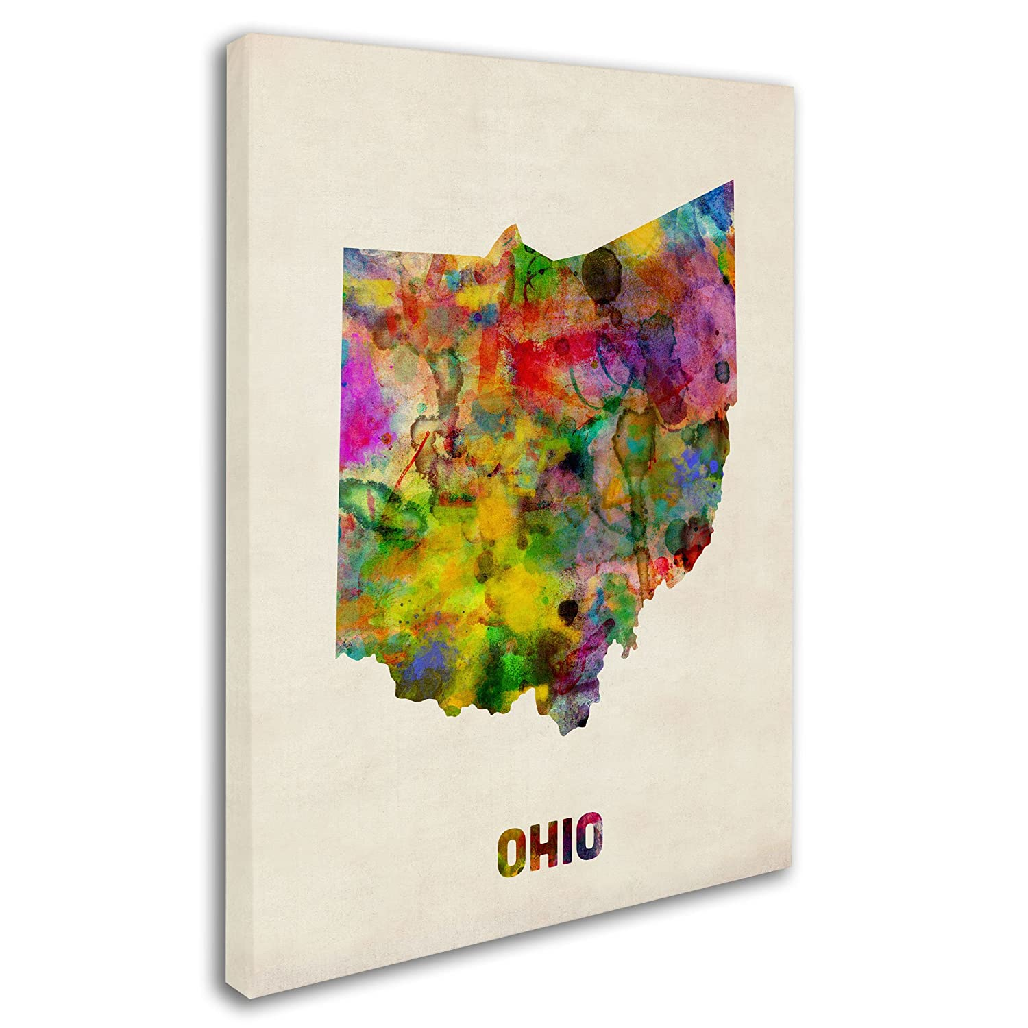 Ohio Map by Michael Tompsett, 18 by 24-Inch Canvas Wall Art