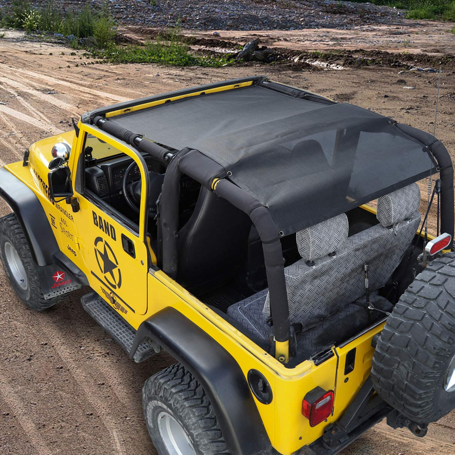 Black Twill Sierra Offroad 2007-2009 2DR JK Factory Style Soft Top with Tinted Windows