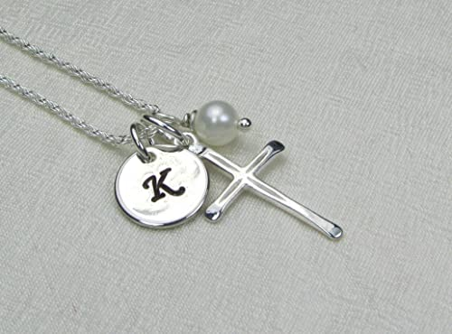 Initial Pearl Silver Pendant Personalized Silver Necklace Bridesmaid Gift Sterling Silver Initial Pendant