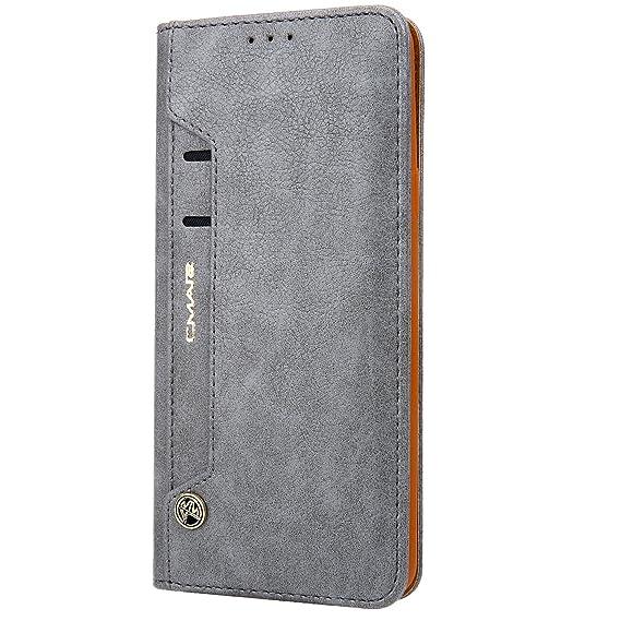 Funda cartera Samsung Galaxy S7 Edge con una solapa para llevar tarjeta de credito y dinero, Gris
