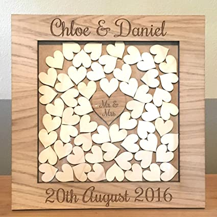 Wooden Drop Box Wedding Guest Book Alternative Personalised With Name Of Couple And Date Of Wedding Medium Square Frame