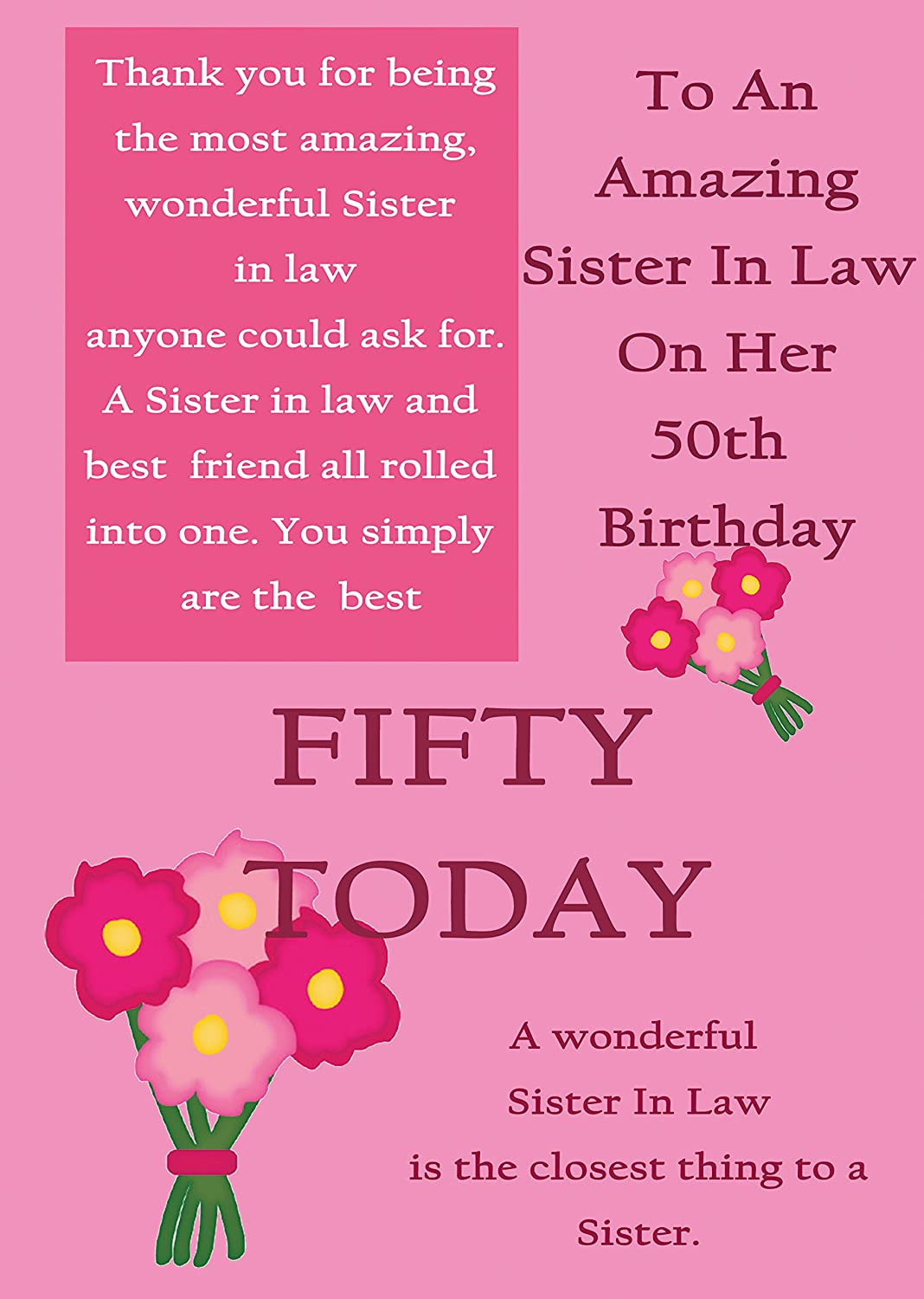 For a Special Daughter in Law on your 50th Birthday card Amazon – Birthday Greetings for 50th Birthday