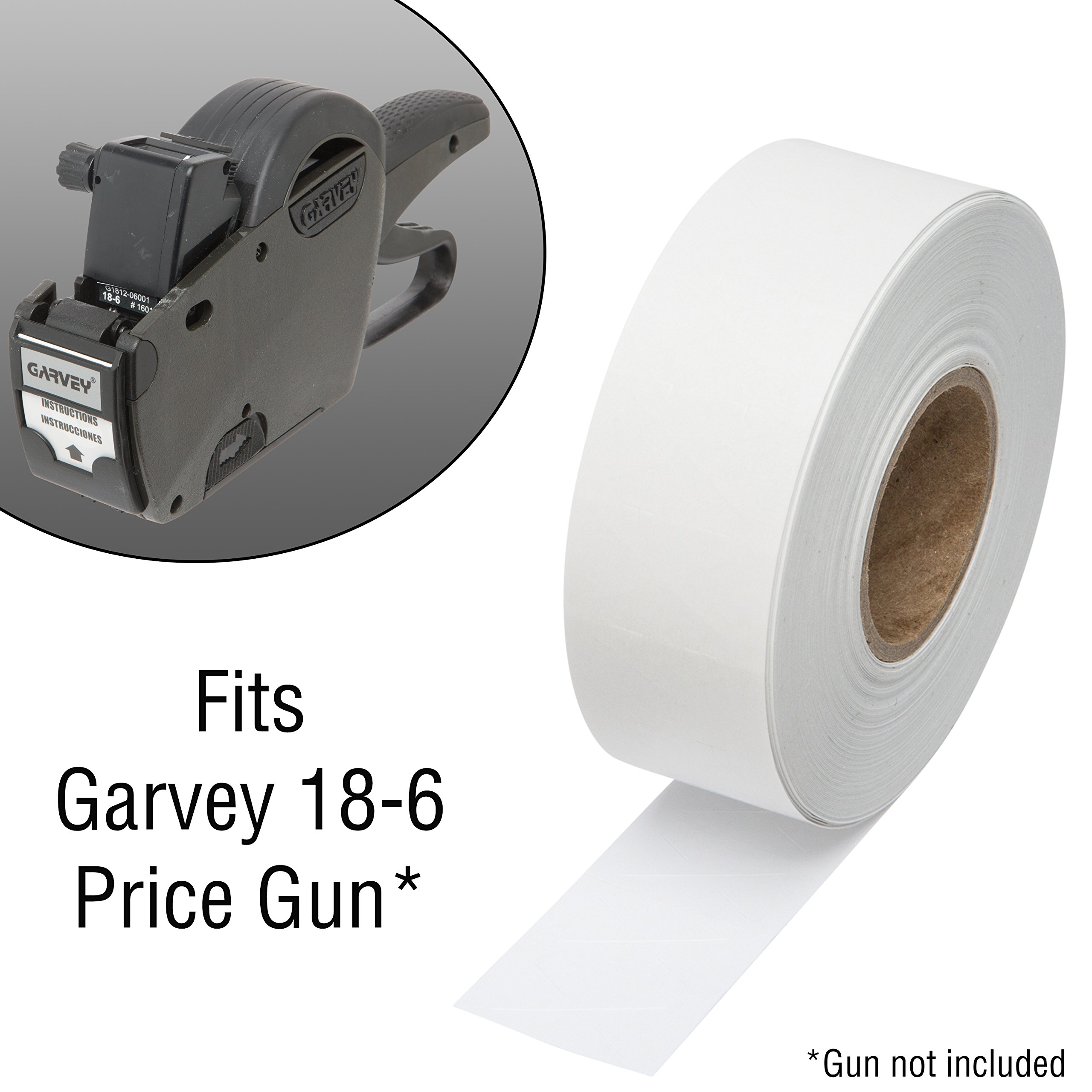 1812 White Pricing Labels for Garvey 18-6 One Line Price Gun – 10 Sleeves – 140,000 Price Marking Labels – with Bonus Ink Rolls by Perco (Image #3)