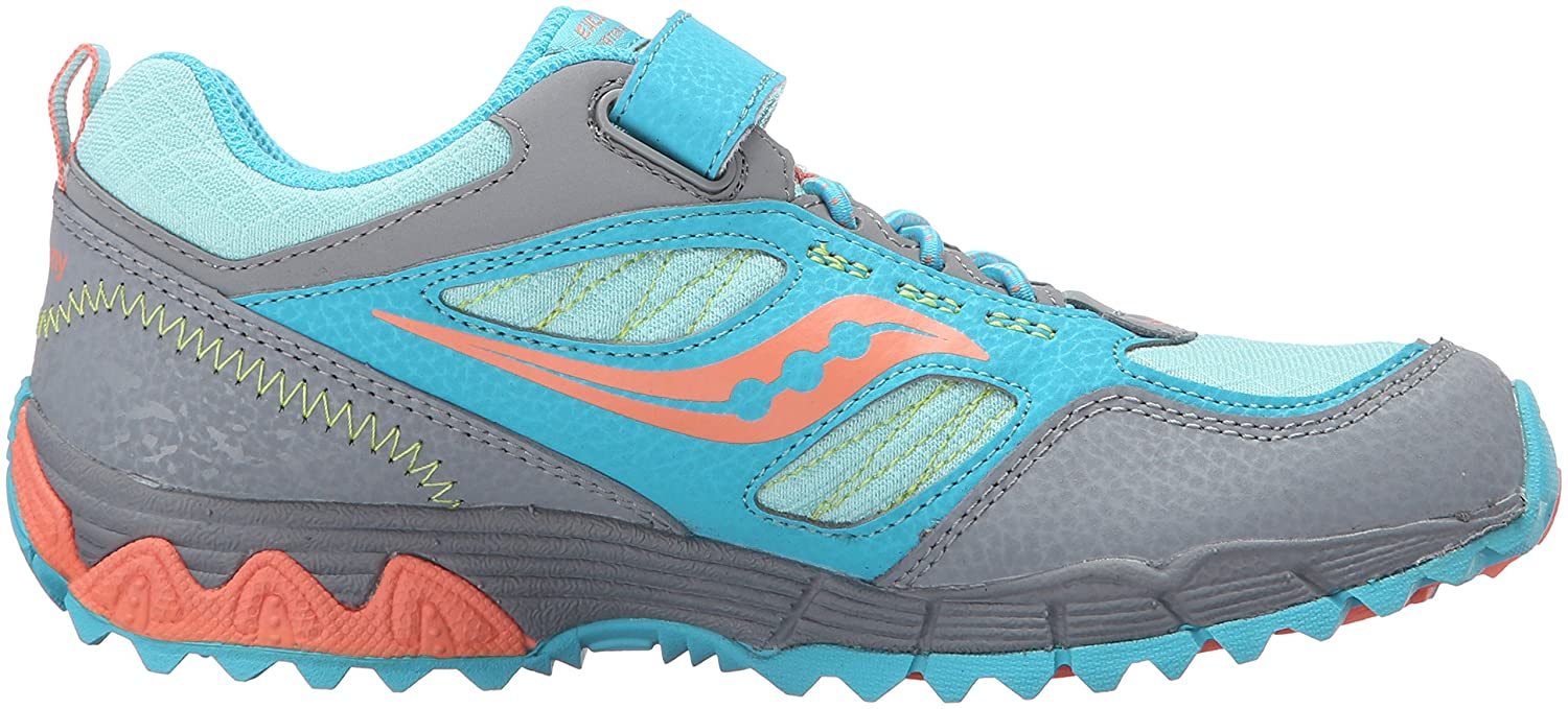 Saucony Excursion Shield Alternative Closure Sneaker (Little Kid), Grey/Turquoise/Coral, 12 W US Little Kid